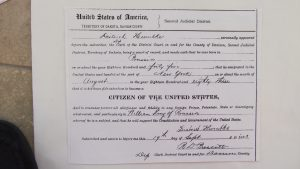 Sept., 19, 1883 Declaration by Dietrick Humbke in SD to become a USA citizen