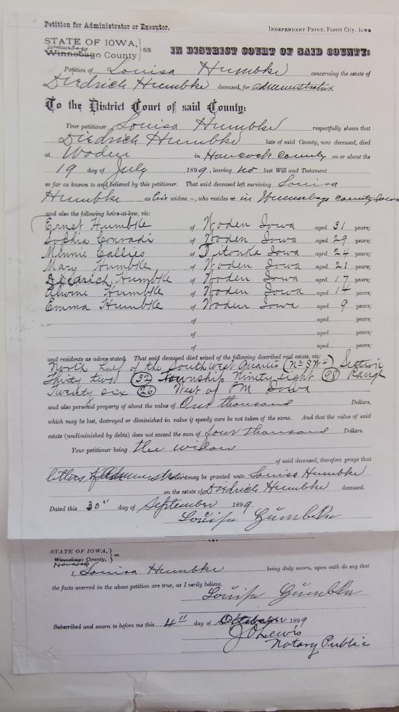 Oct. 4, 1899 Declaration of heirs and land of Dietrick Humbke estate