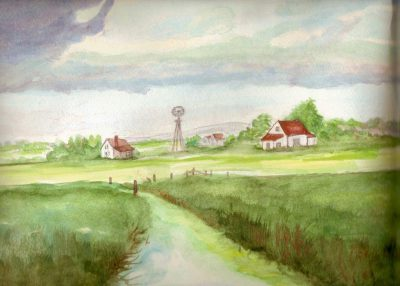 Dick & Hulda Humbke farm at Haultain District, Alberta painted by Dorothy Gallant (Humbke)