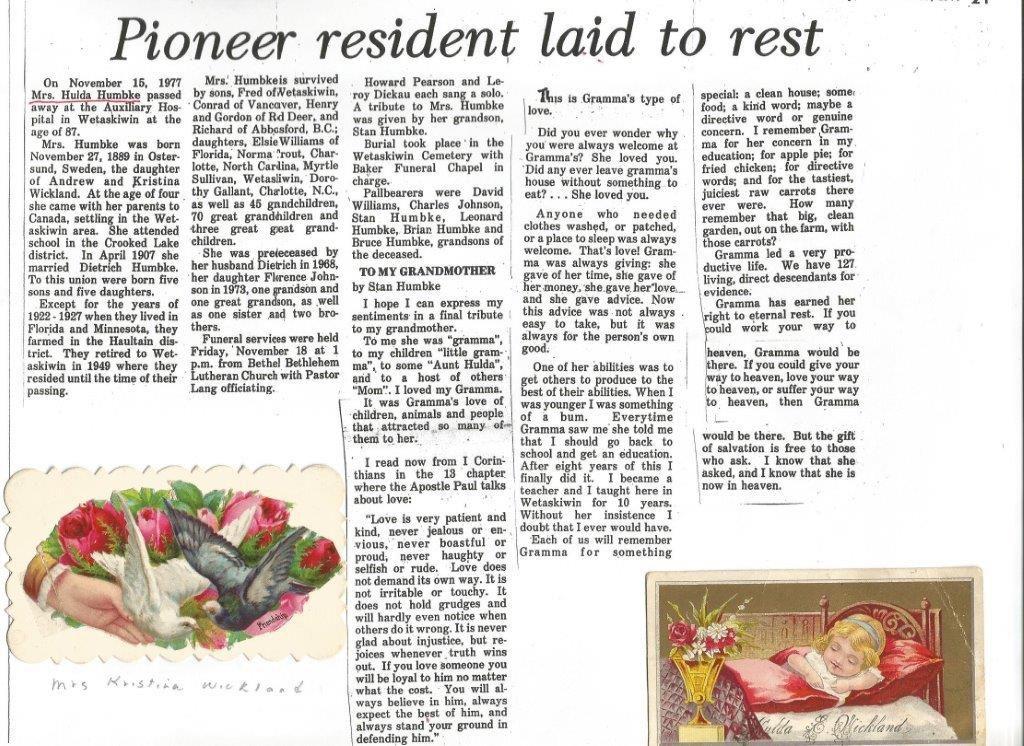 Hulda Humbke (Wickland) obituary