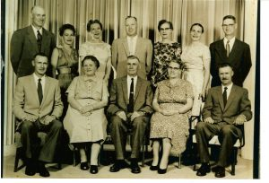 Photo of Humbke Family 19__ in Wetaskiwin, AB B. Henry, Dorothy, Norma, Conrad, Myrtle, Florence & Fritz F. Richard, Hulda, Dick, Elsie & Gordon