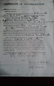 Certificate of Naturalization as a Canadian 06JUL1904 for Dietrich Ernest Humbke