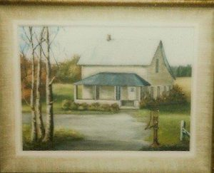 Myrtle (Humbke) Johnson painting of Humbke home