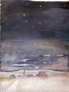 Painting of A Winter Night at the HUMBKE farm - Haultain District, Wetaskiwin County by Dorothy (HUMBKE) GALLANT