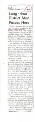 Obituary of Dietrich Frederick Ernest HUMBKE 01JAN1968 in Wetaskiwin