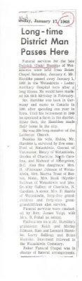 Obituary of Dietrich Frederick Ernest HUMBKE 01JAN1968 in Wetaskiwin