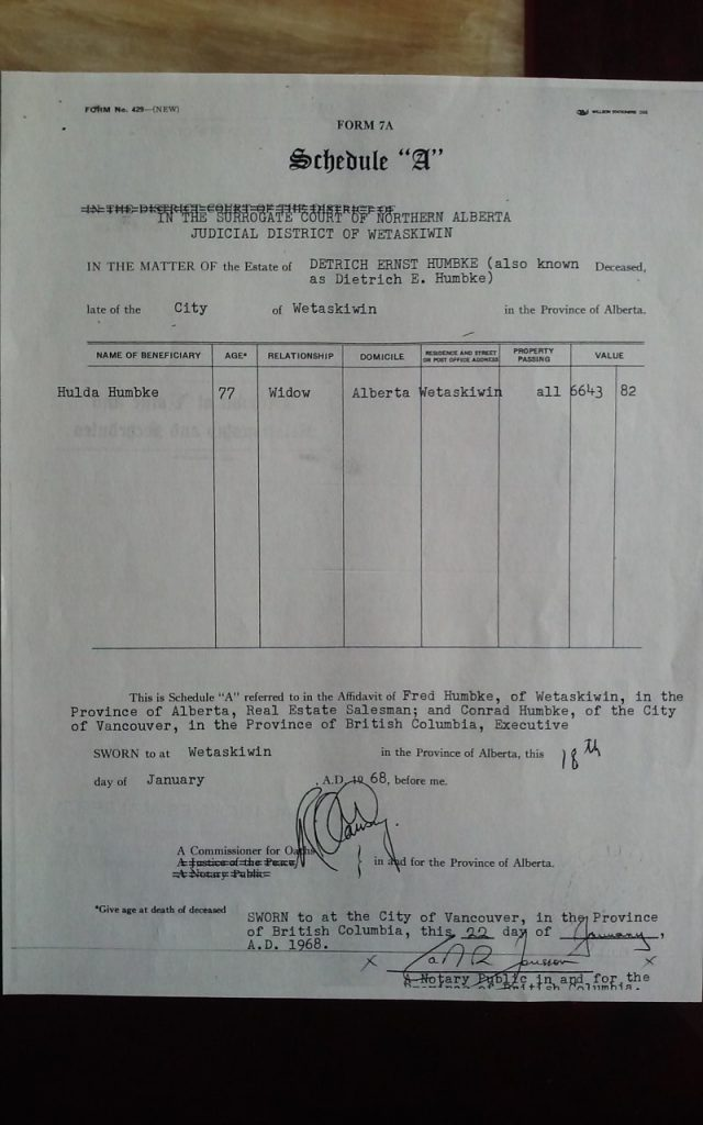 1968 Schedule A of Dietrich Ernest Humbke's WILL of 1950.