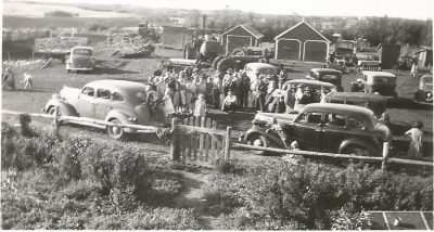 Gathering at the Humbke farm possibly celebrating Dick & Hulda's move to Wetaskiwin in 1949.