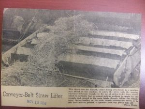 """Conveyor-Belt Straw Lifter"" invention by Dick Humbke - Wetaskiwin Times Nov 12, 1958"