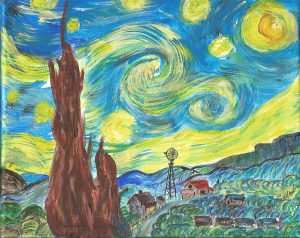 "Dorothy (HUMBKE) GALLANT's Copy of ""The Starry Night"" A Painting by Vincent van Gogh, June 1889"